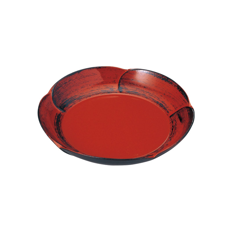 5寸 梅型皿 朱に黒カスリ 2-1753-5