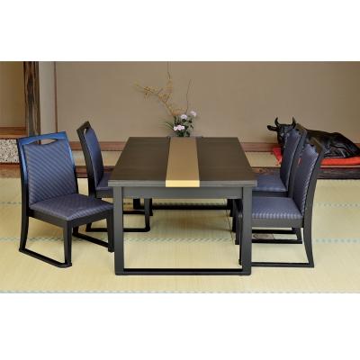 木製テーブル座卓(和洋兼用) 8本脚 4人膳 塗り分け(平目/金帯)ずり脚凵型