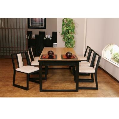 木製テーブル座卓(和洋兼用) 8本脚 4人膳 メラミンゼブラ木目 ずり脚凵型