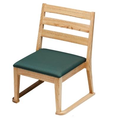 高座椅子 横格子(布)モスグリーン フレーム白木