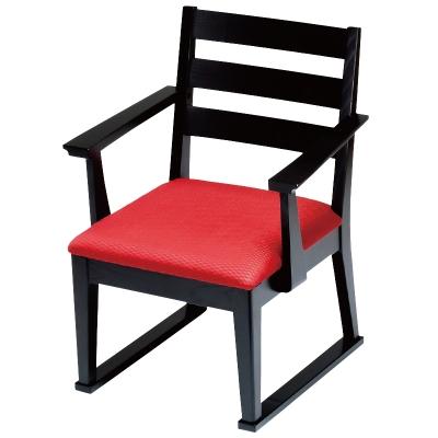 高座椅子 肘付横格子(布) 朱織 フレーム黒