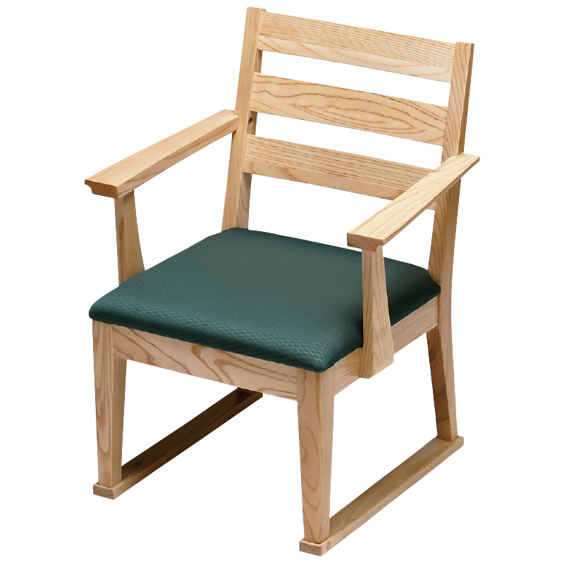 高座椅子 肘付横格子(布) モスグリーン フレーム白木 2-1798-3