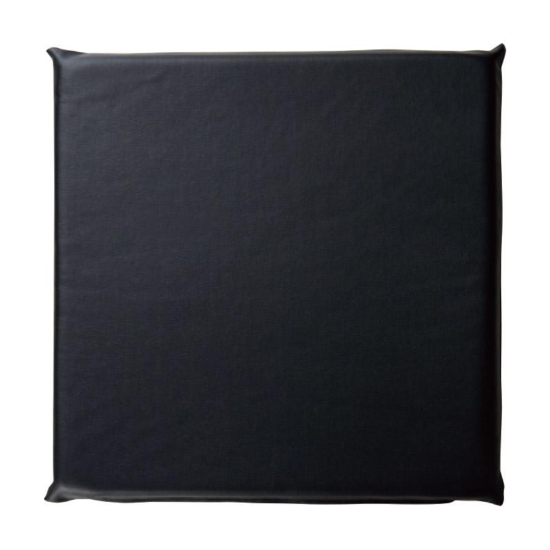 レザー座布団 カバー+中身込み ブラック 2-1849-1