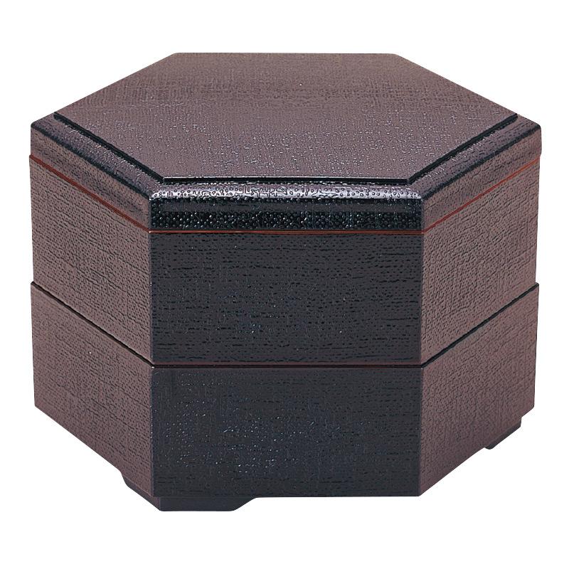 新7寸布目六角弁当 溜 (親1ヶ)2-483-15
