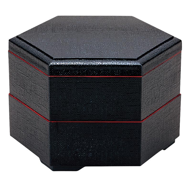 新7寸布目六角弁当 黒天朱 (親1ヶ)2-483-6