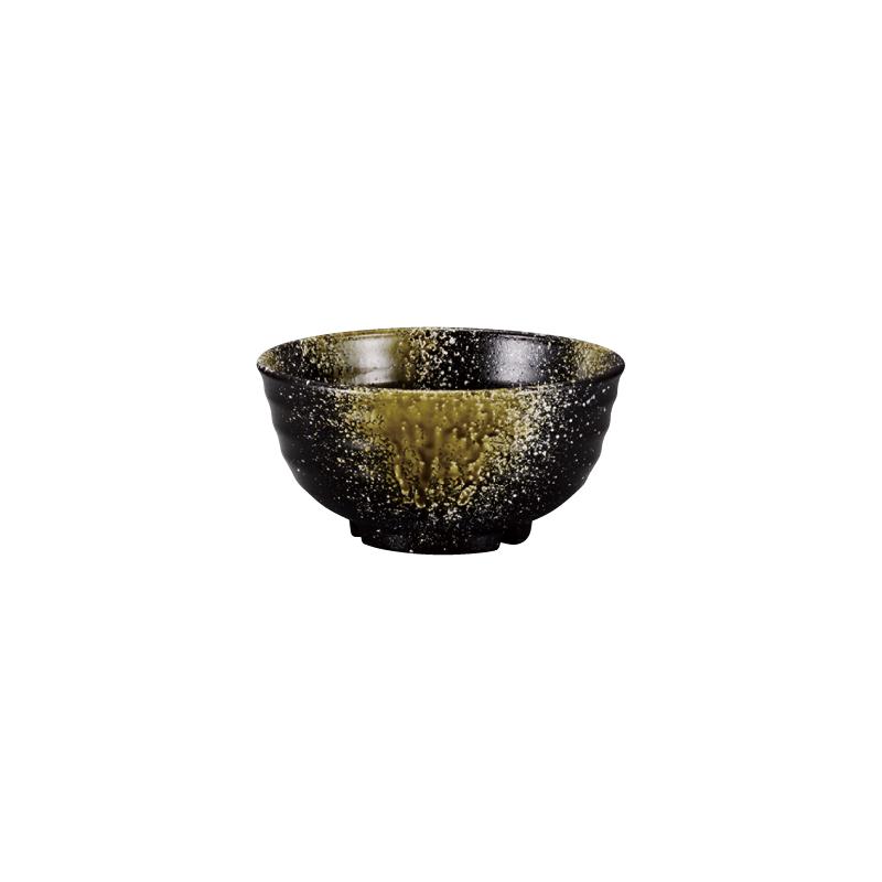 PBT荒彫鉢 織部流し塗 13cm 2-786-1