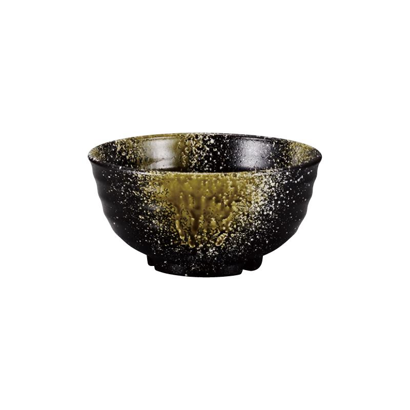 PBT荒彫鉢 織部流し塗 16cm 2-786-3