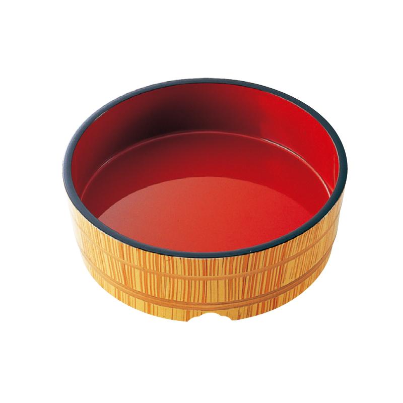 8寸 めん桶 白木内朱 2-805-10