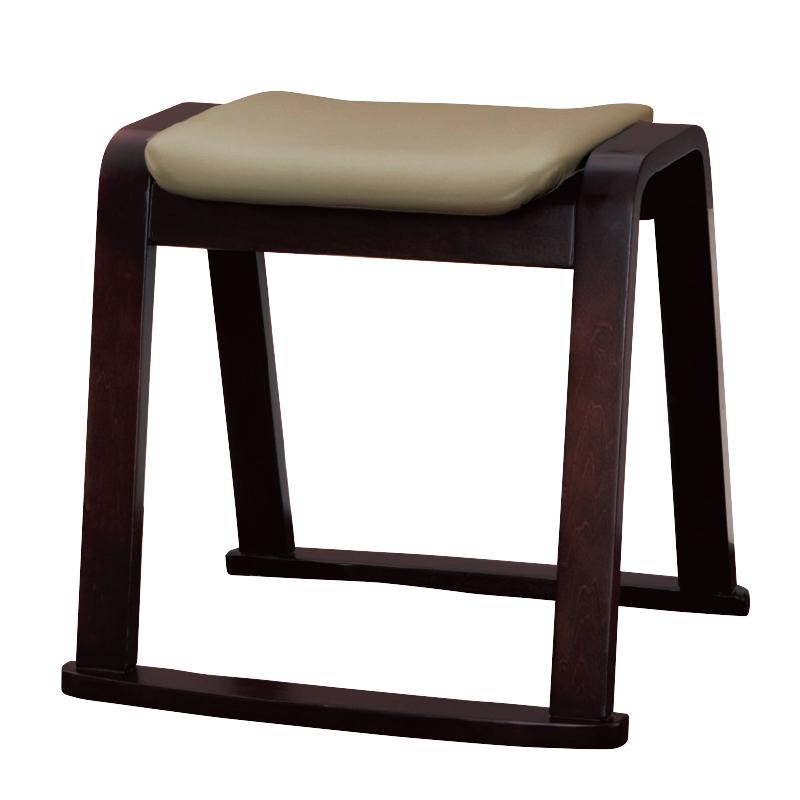 木製スツール ベージュ(合成皮革)22P-73-2